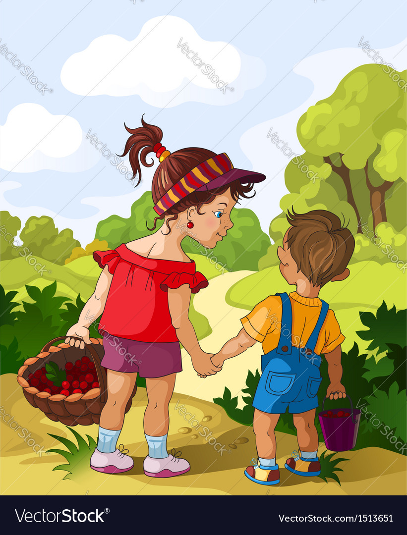 Children walking in the forest vector | Price: 5 Credit (USD $5)