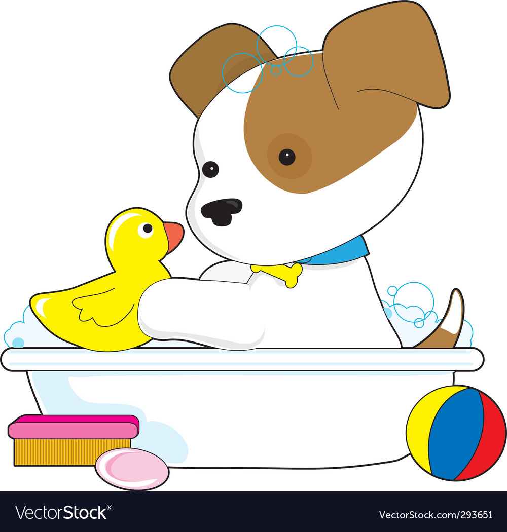 Cute puppy bath vector | Price: 1 Credit (USD $1)