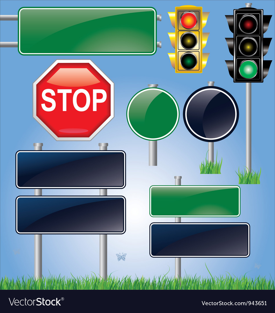 Empty road sign and traffic light set vector | Price: 1 Credit (USD $1)