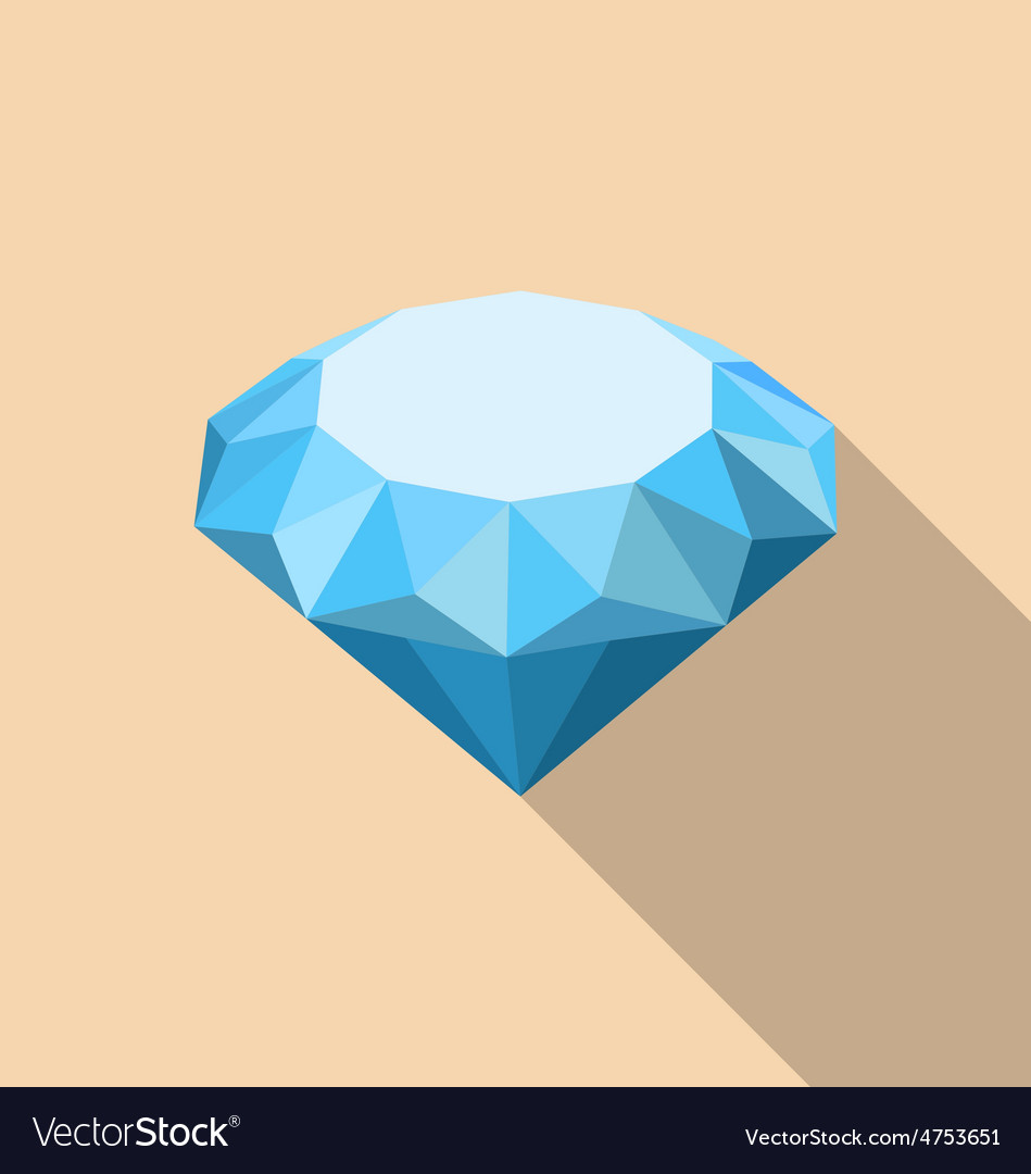 Flat icon of diamond with long shadow vector   Price: 1 Credit (USD $1)