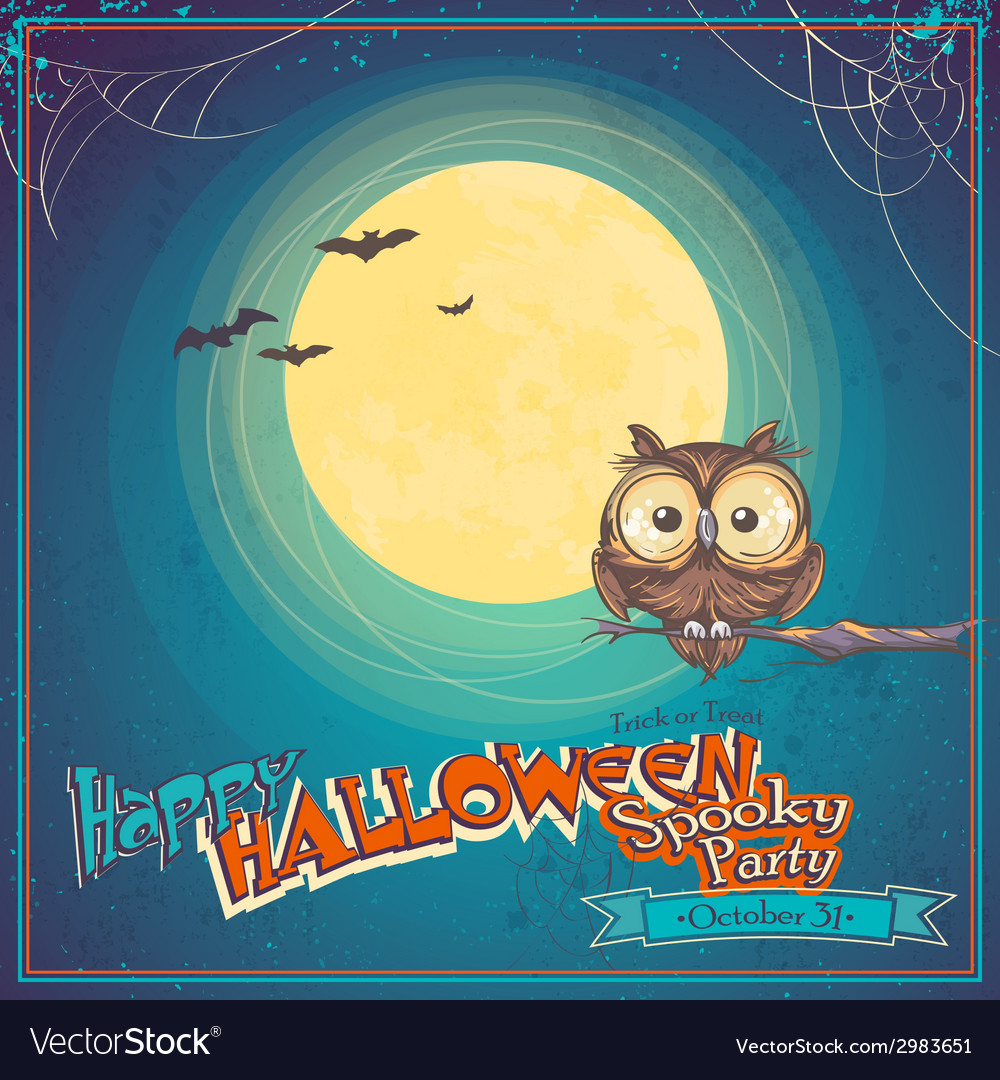 Greeting card halloween with owl on background of vector | Price: 1 Credit (USD $1)