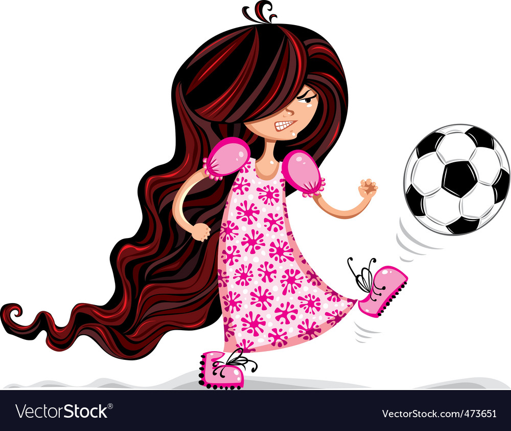 Little girl playing soccer vector | Price: 3 Credit (USD $3)