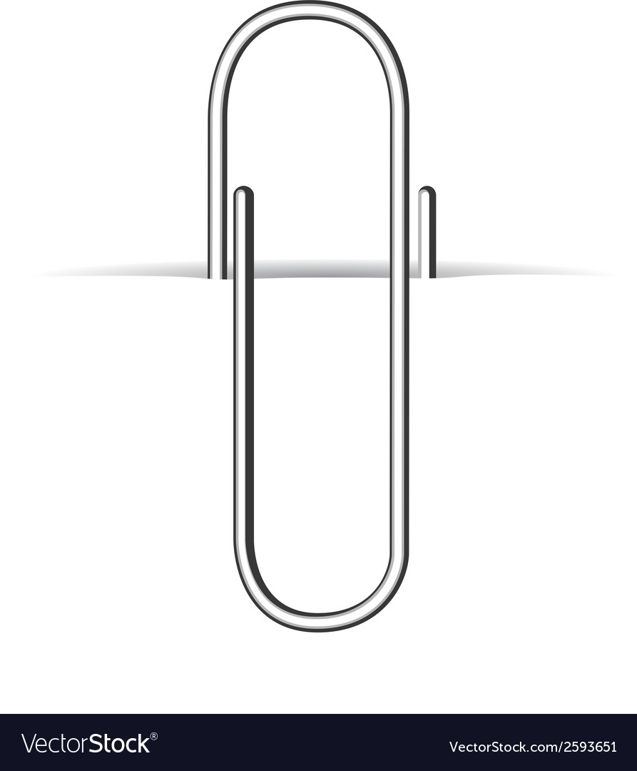 Metal clip paperclip on white paper vector | Price: 1 Credit (USD $1)