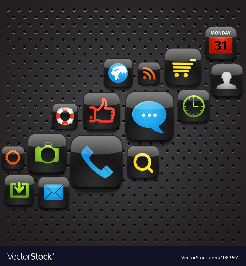 Mobile interface icons abstract background vector   Price: 1 Credit (USD $1)