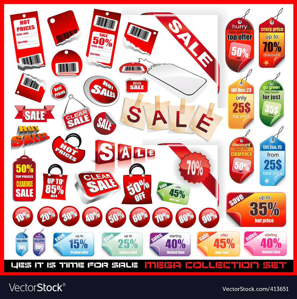 Sale tags vector | Price: 3 Credit (USD $3)