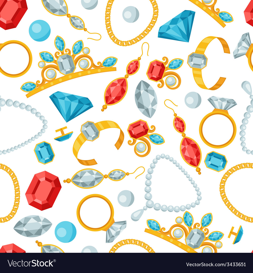 Seamless pattern with beautiful jewelry and vector | Price: 1 Credit (USD $1)