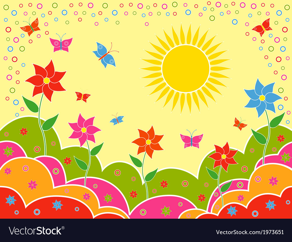 Sunny summer landscape as wallpaper vector | Price: 1 Credit (USD $1)