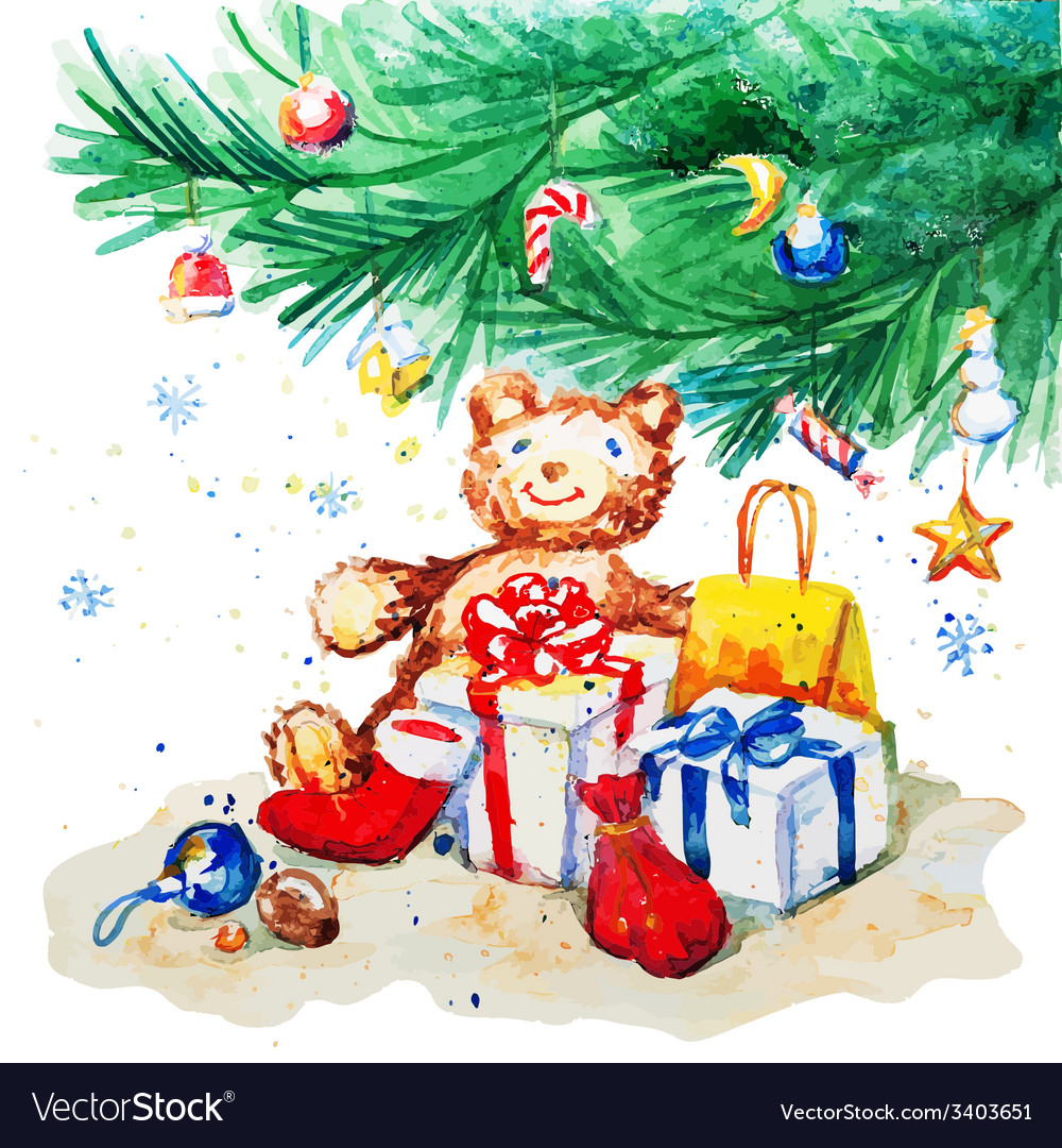 Toy bear and gifts under the christmas tree vector | Price: 1 Credit (USD $1)