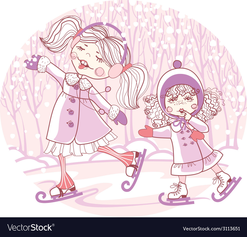 Two girls skate vector | Price: 1 Credit (USD $1)