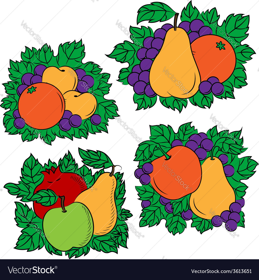 Vintage colorful fruit compositions vector | Price: 1 Credit (USD $1)
