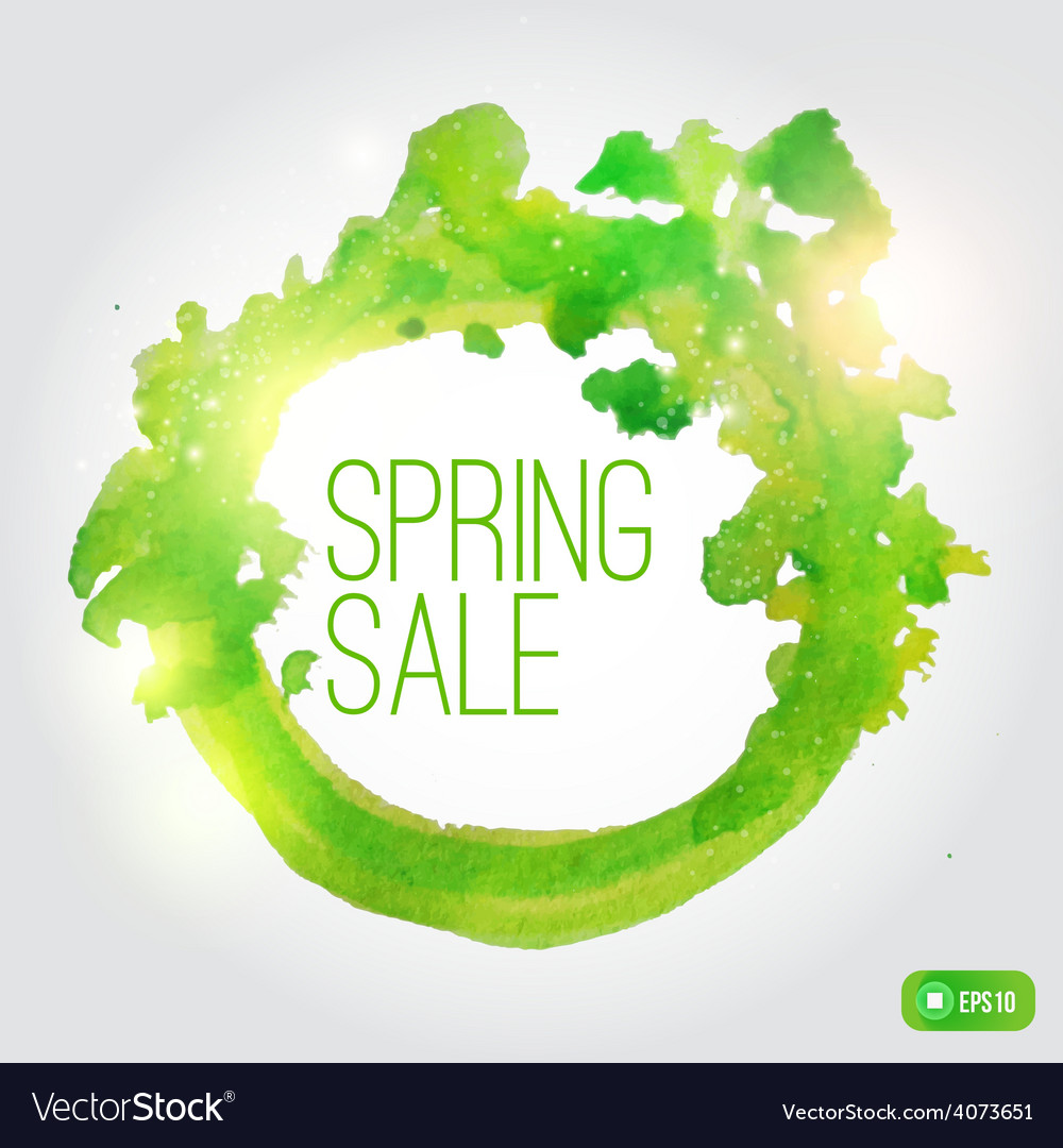 Watercolor spring splash banner with leaves vector | Price: 1 Credit (USD $1)