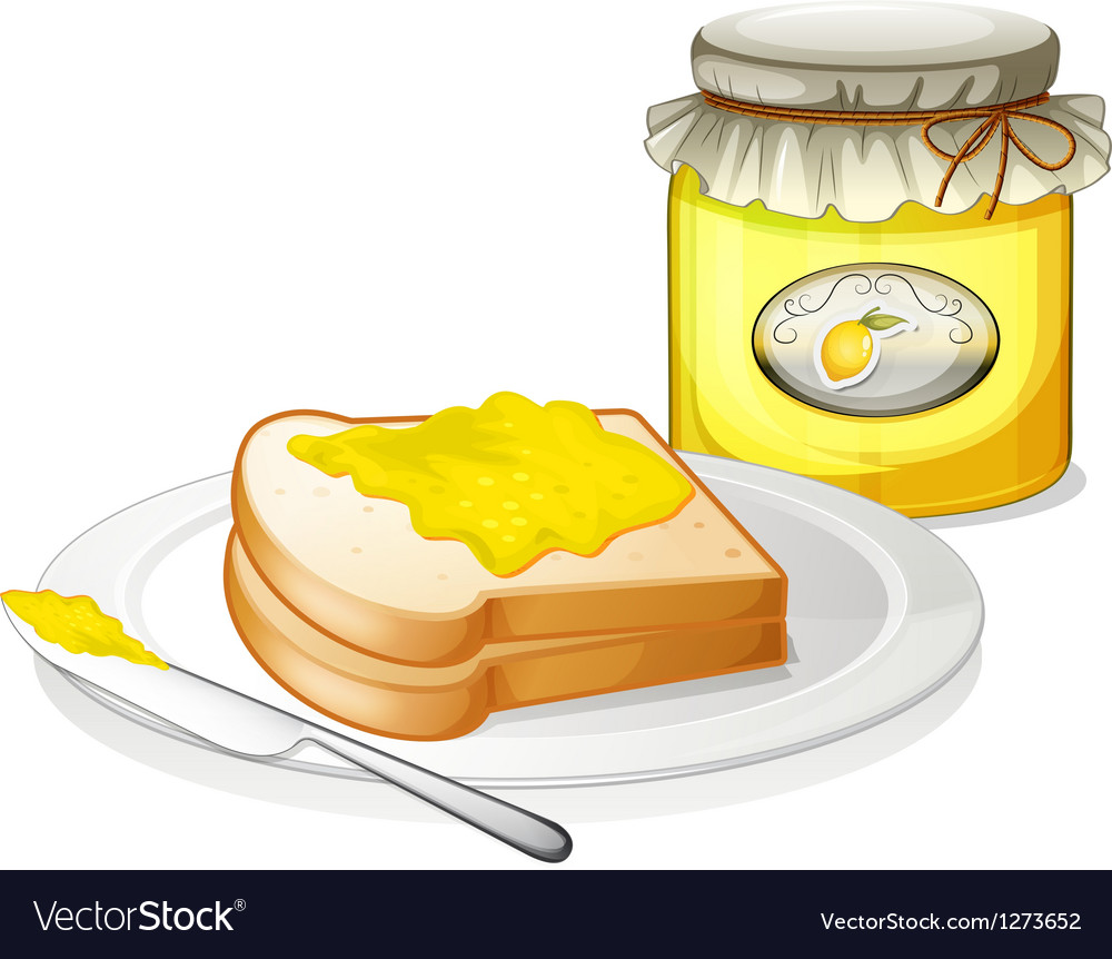 A bottle of jam and a sandwich vector | Price: 1 Credit (USD $1)