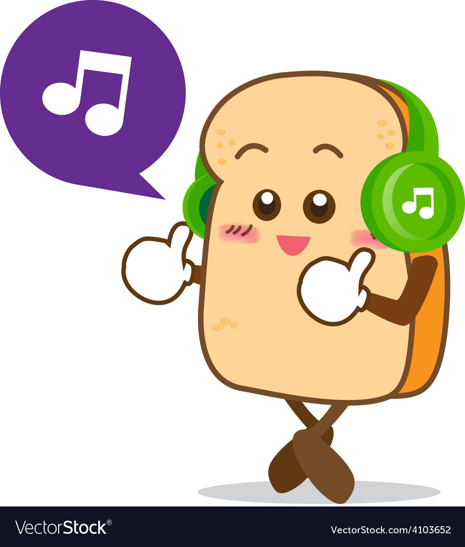 Bread 13 isolated happy smile listening music vector | Price: 1 Credit (USD $1)