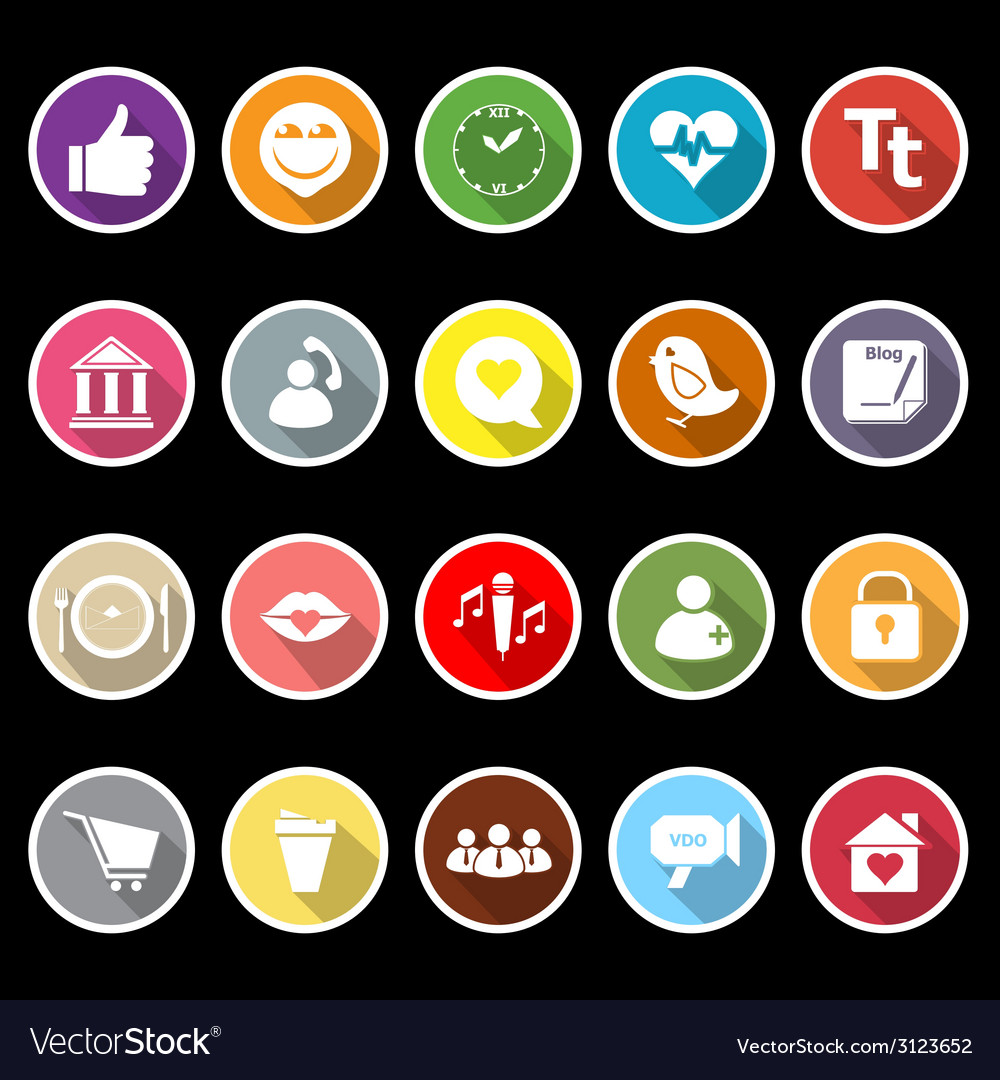 Chat conversation flat icons with long shadow vector | Price: 1 Credit (USD $1)