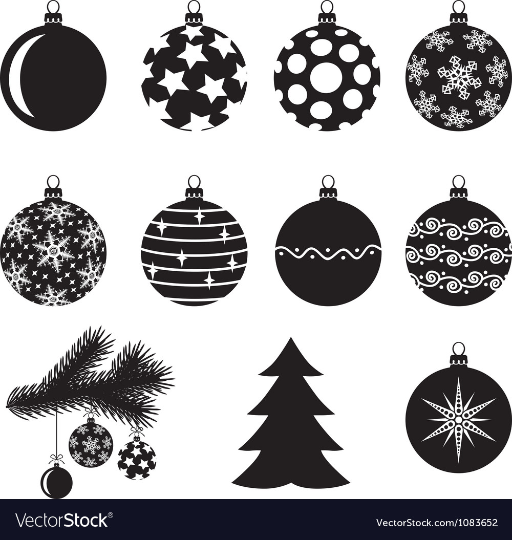 Christmas baubles set vector | Price: 1 Credit (USD $1)