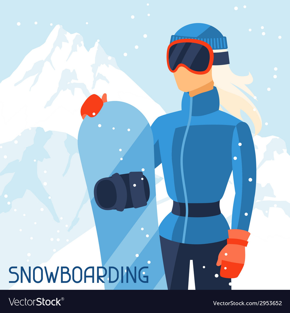Girl snowboarder on mountain winter landscape vector   Price: 1 Credit (USD $1)