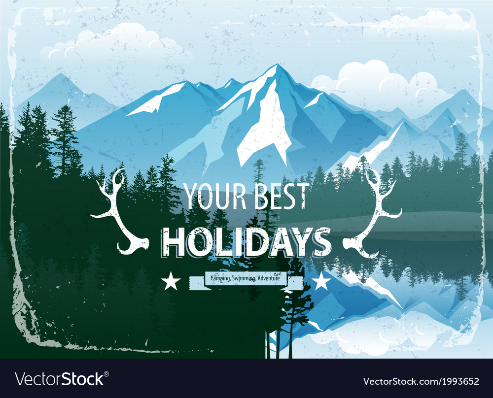 Landscape with forest and mountains vector | Price: 1 Credit (USD $1)