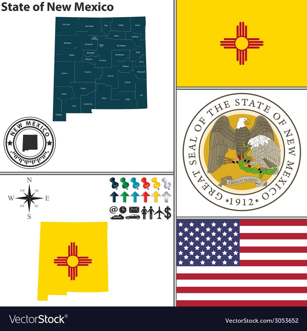 Map of new mexico with seal vector | Price: 1 Credit (USD $1)
