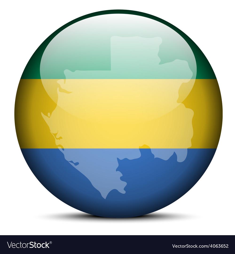 Map on flag button of gabon gabonese republic vector | Price: 1 Credit (USD $1)