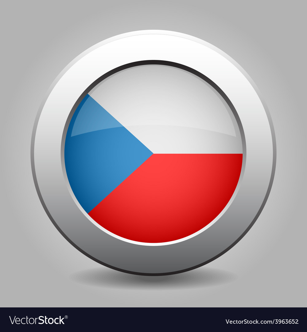Metal button with the czech flag vector | Price: 1 Credit (USD $1)