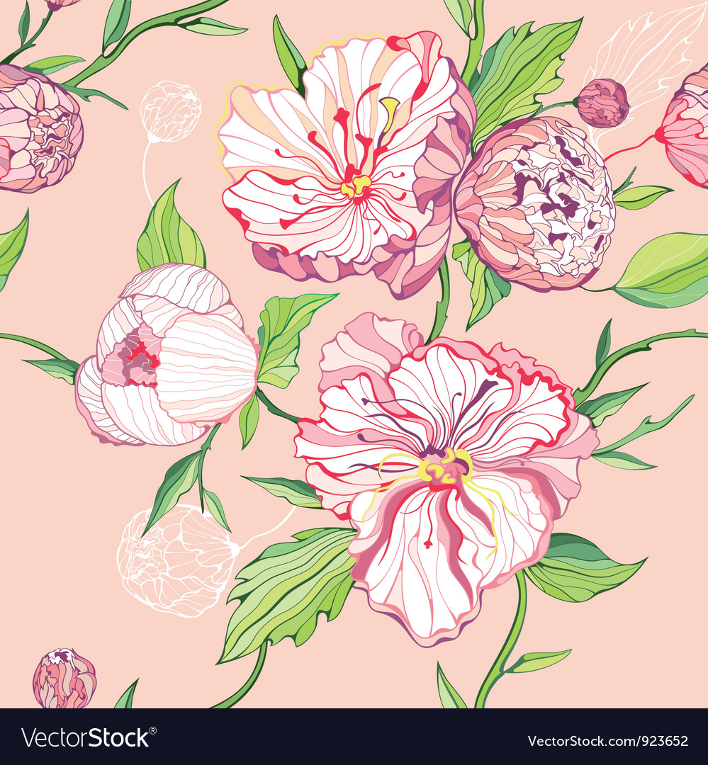 Seamless peony background vector | Price: 1 Credit (USD $1)