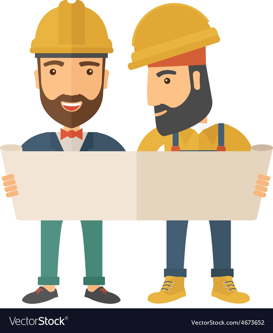 Two architects wearing protection helmets looking vector | Price: 1 Credit (USD $1)