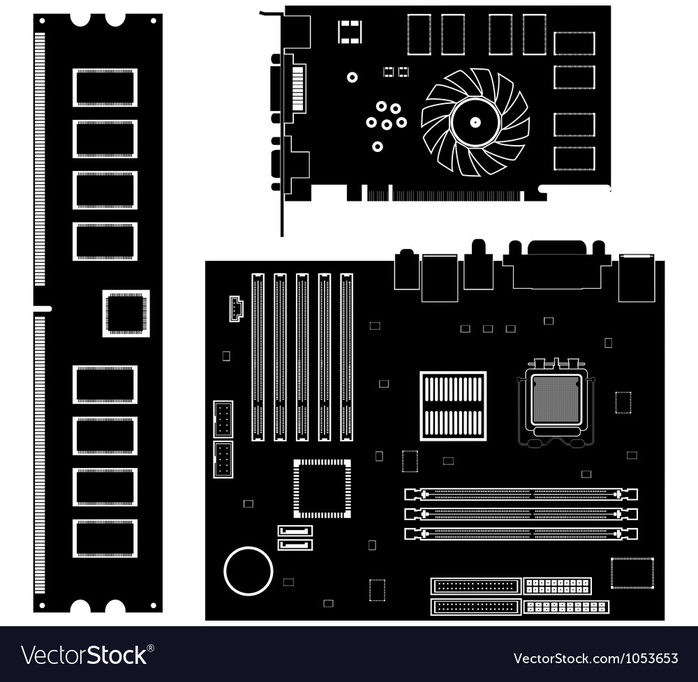 Collection icons computer hardware icons vector | Price: 1 Credit (USD $1)