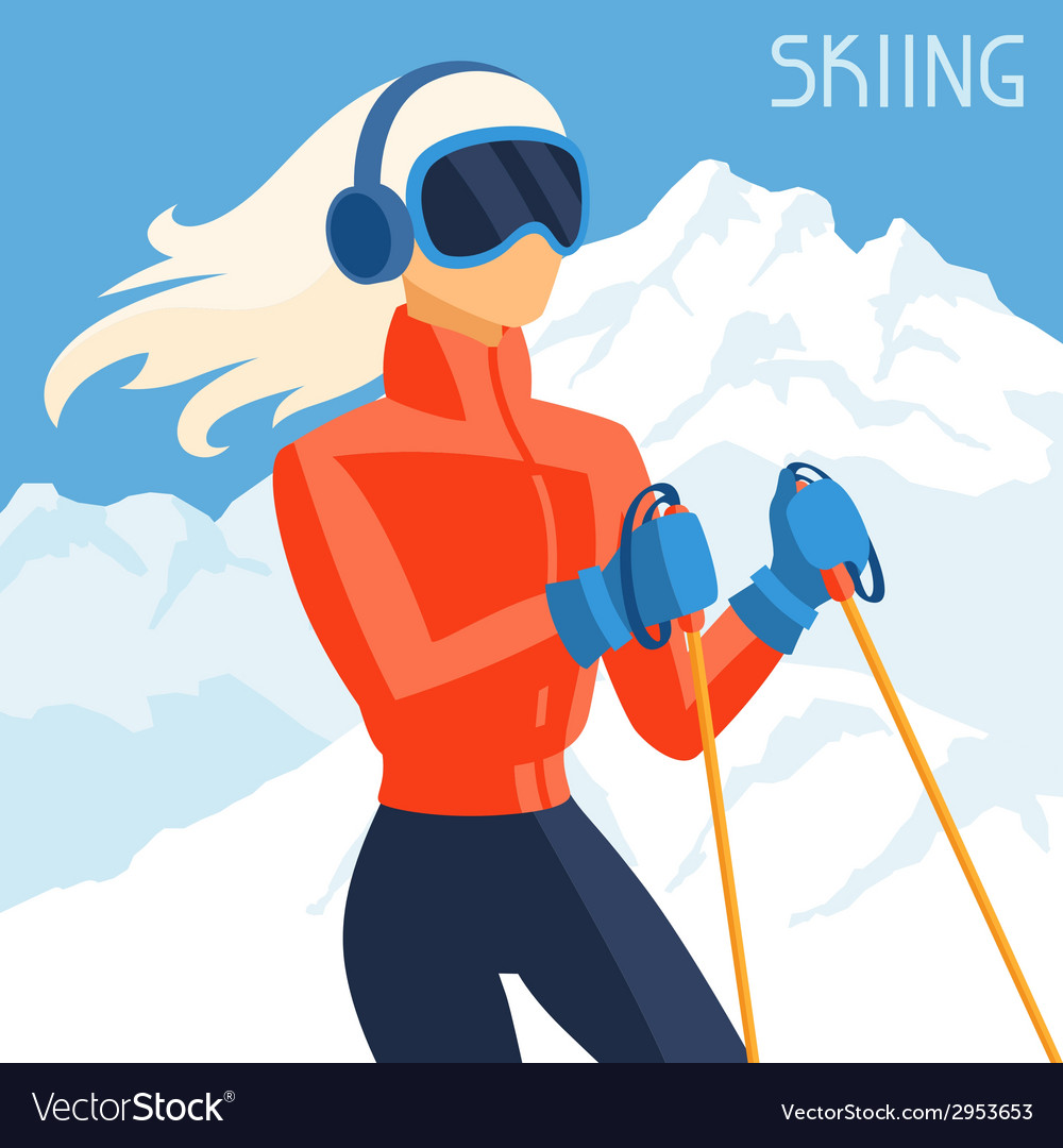 Girl skier on mountain winter landscape background vector | Price: 1 Credit (USD $1)