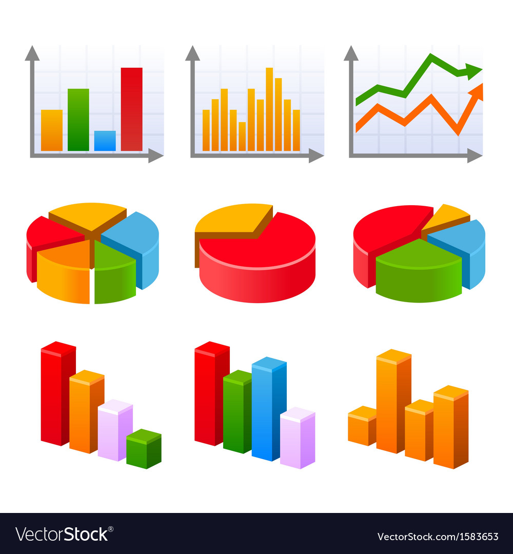 Infographic set with colorful charts and diagram vector | Price: 1 Credit (USD $1)