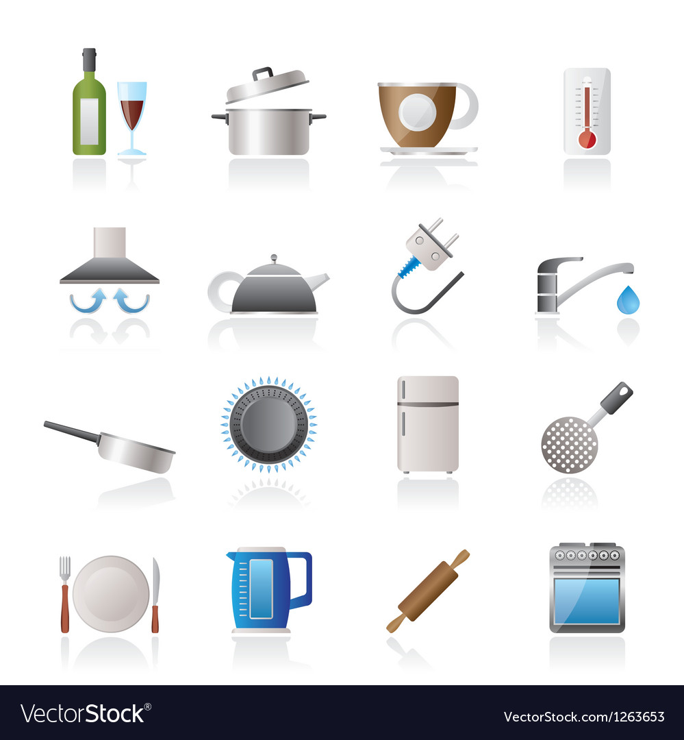 Kitchen objects and accessories icons vector | Price: 3 Credit (USD $3)