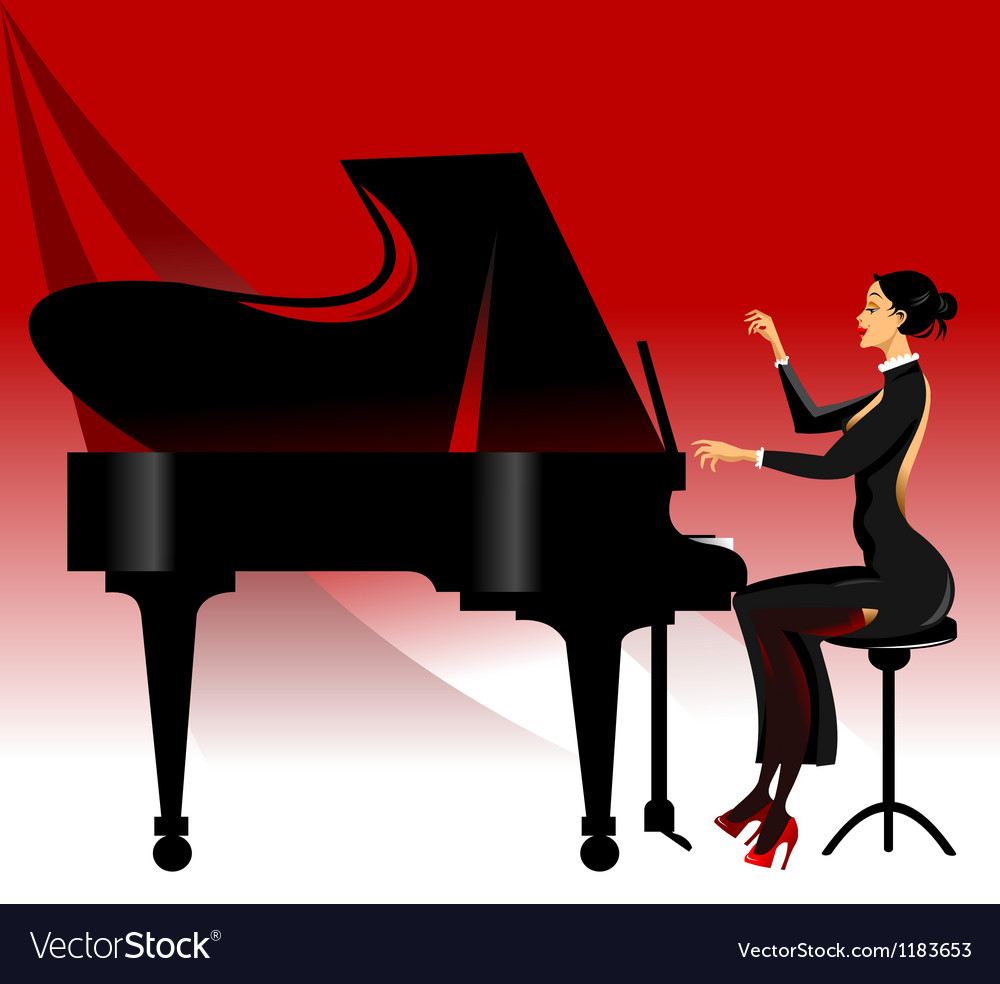 Lady playing piano vector | Price: 1 Credit (USD $1)