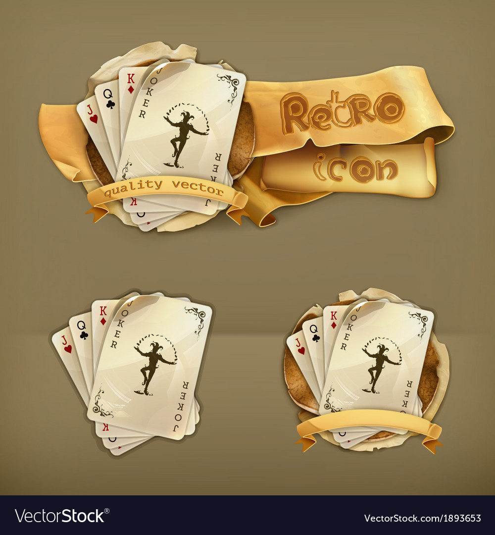 Playing cards with a joker icon vector | Price: 1 Credit (USD $1)