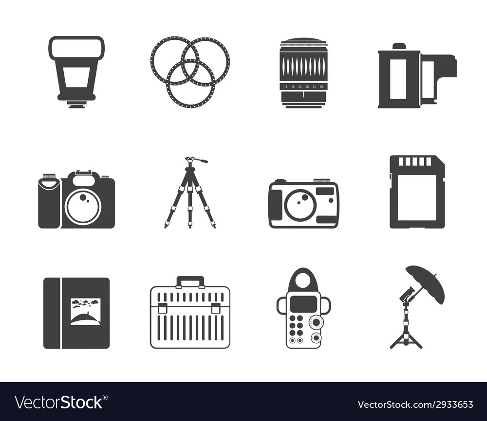 Silhouette photography equipment icons vector | Price: 1 Credit (USD $1)