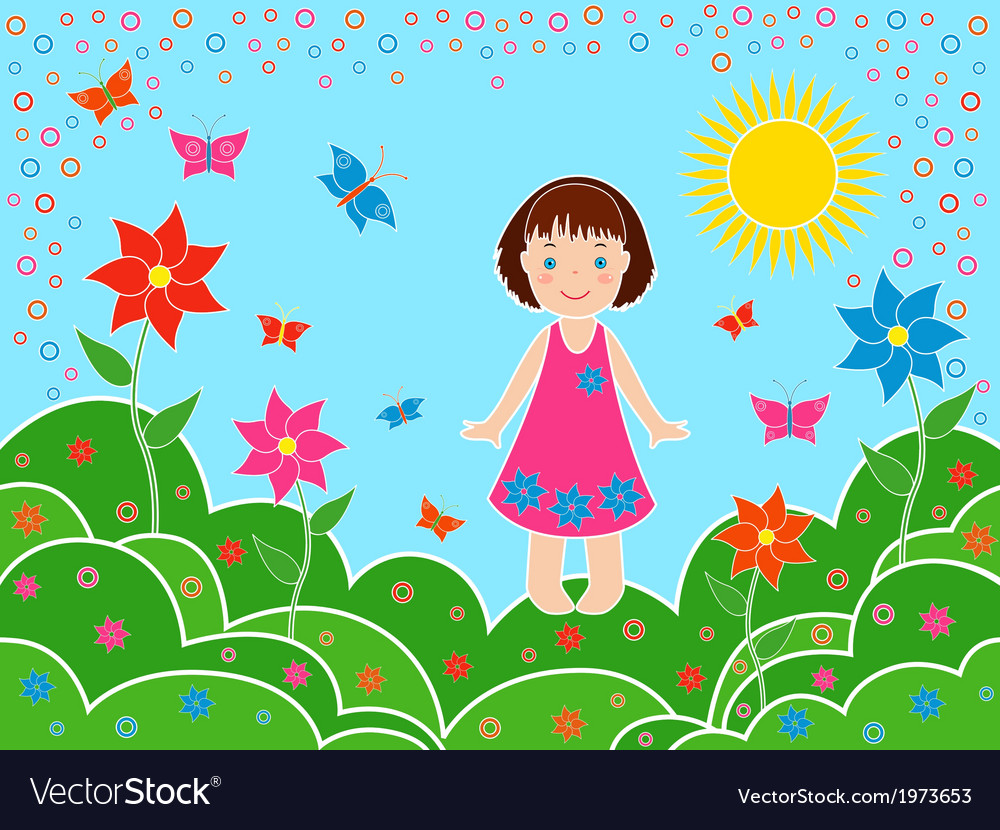 Small girl on the meadows in sunny summer day vector | Price: 1 Credit (USD $1)