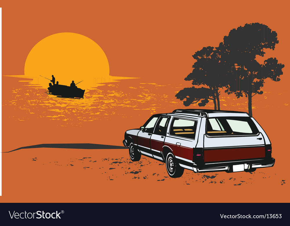 Stationwagon car retro illustartion vector | Price: 3 Credit (USD $3)