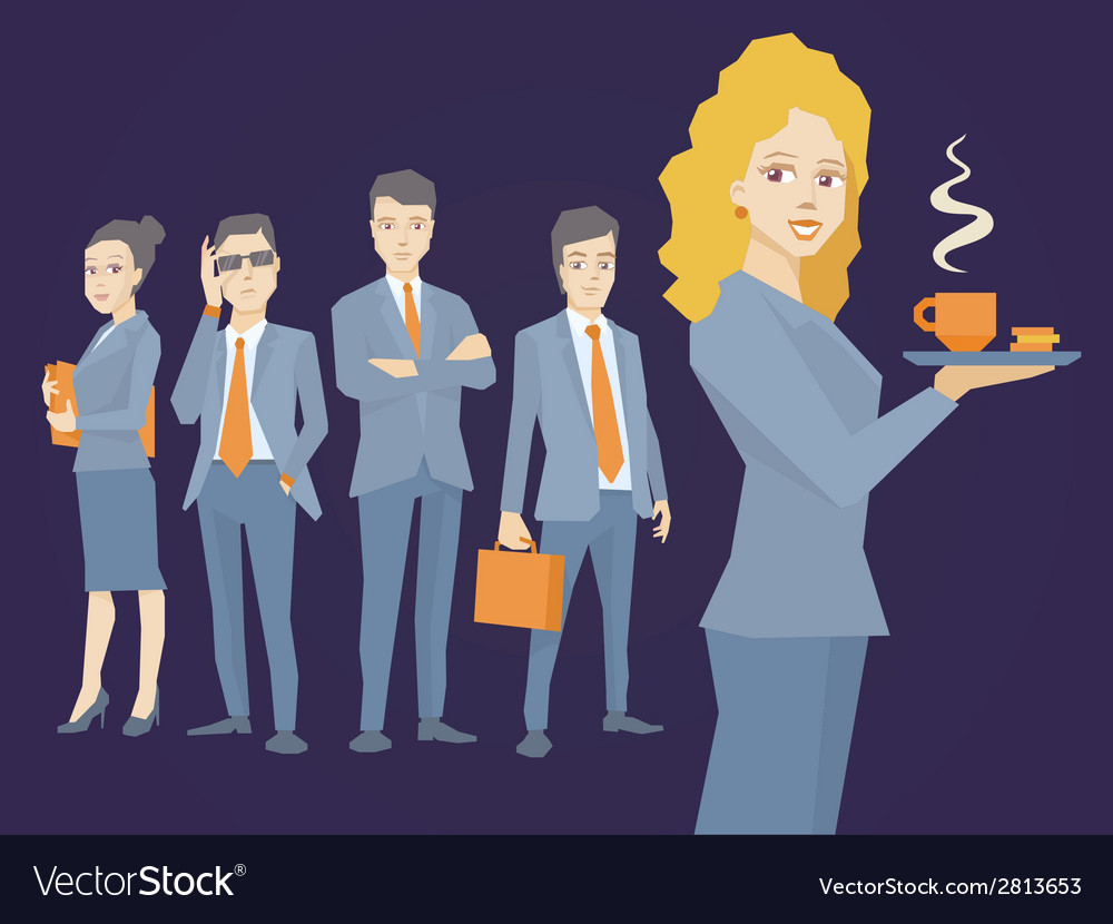 Woman portrait secretary with coffee in h vector | Price: 1 Credit (USD $1)