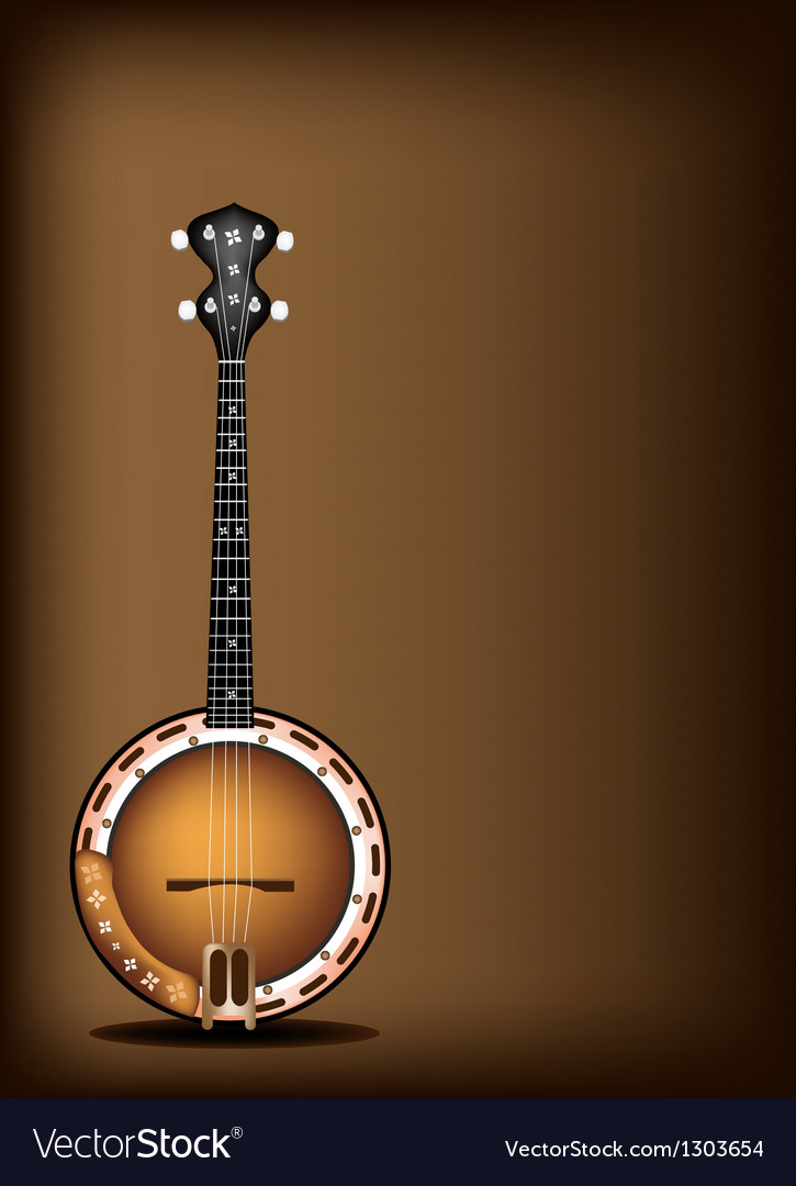 A beautiful banjo on dark brown background vector | Price: 1 Credit (USD $1)