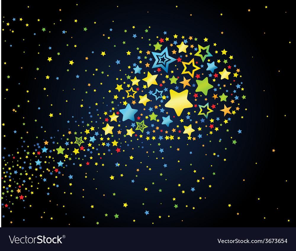 Cartoon star colored comet vector | Price: 1 Credit (USD $1)