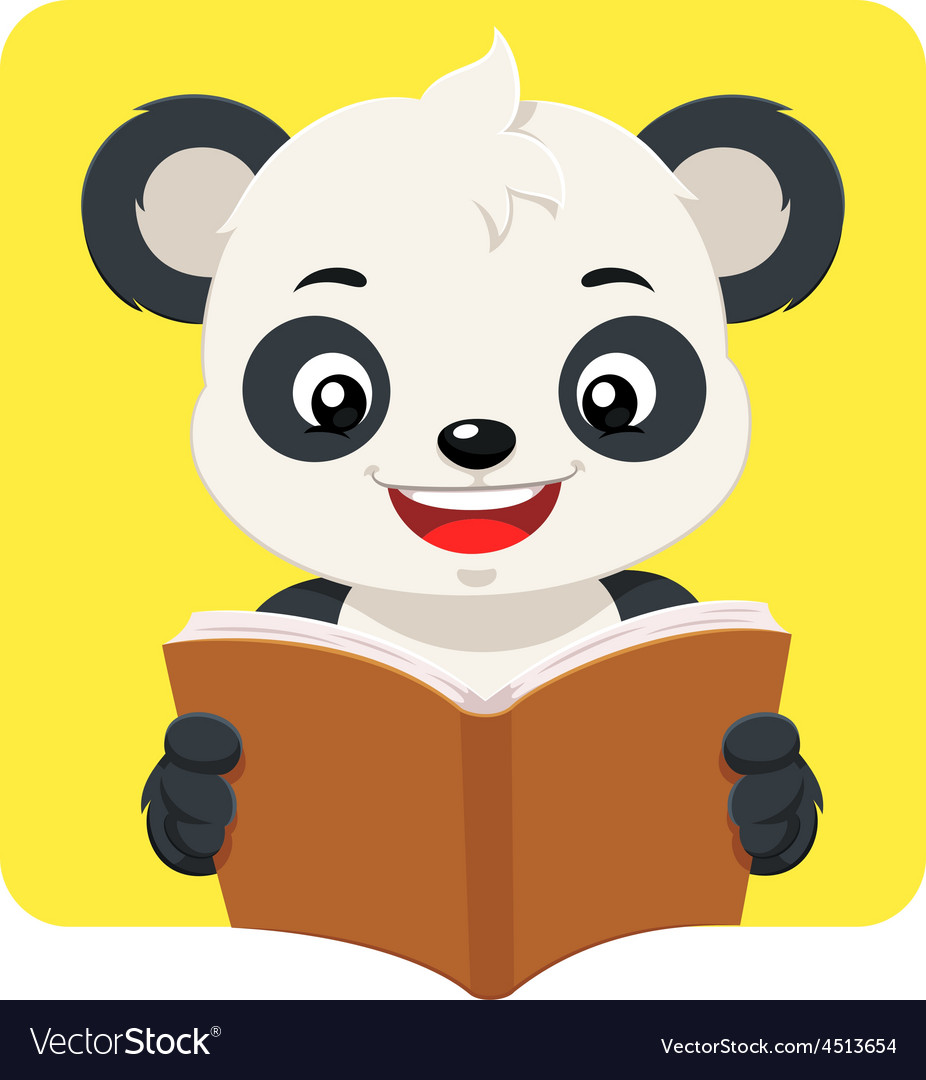 Little panda bear reading a brown book vector | Price: 1 Credit (USD $1)