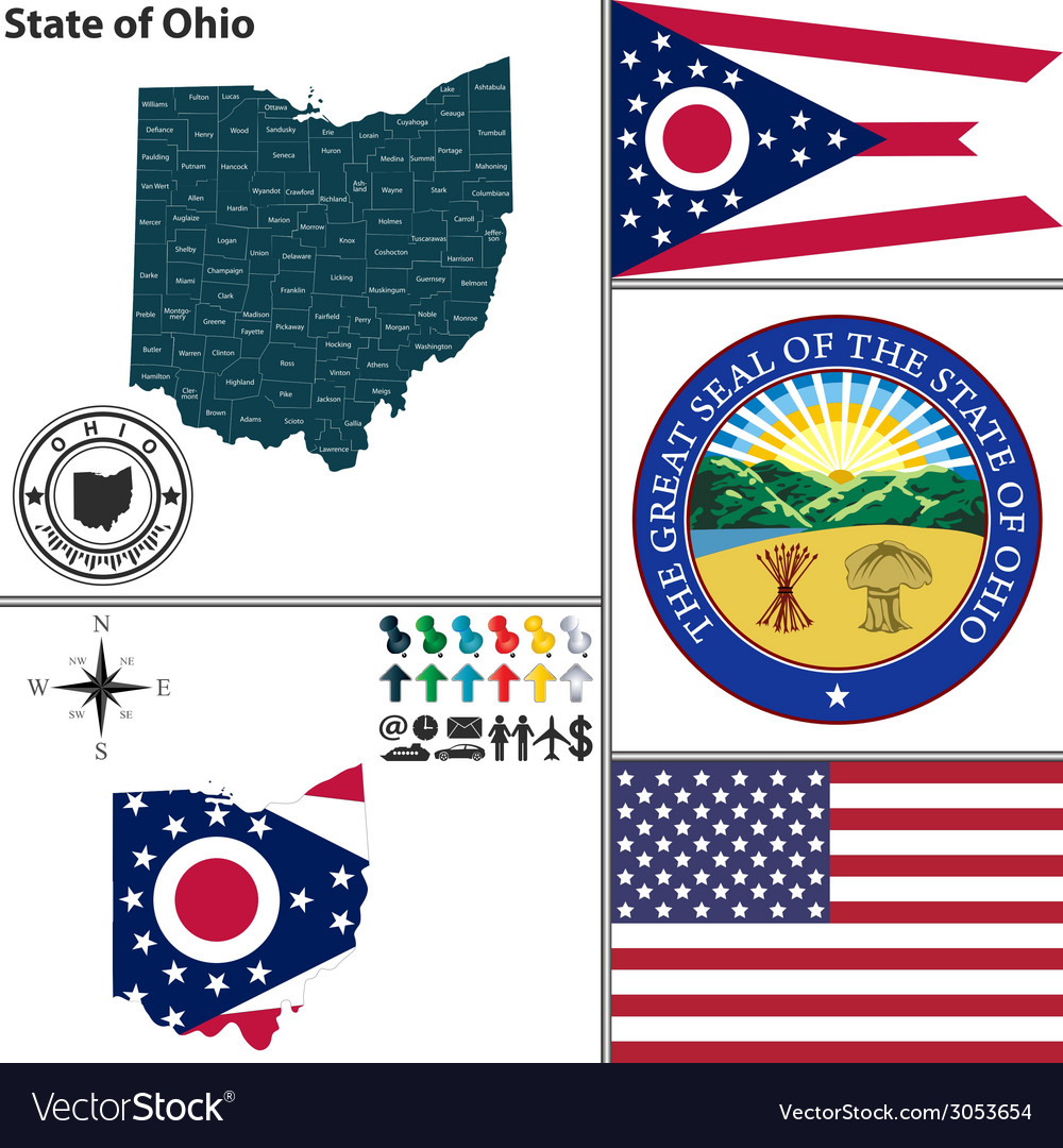 Map of ohio with seal vector | Price: 1 Credit (USD $1)