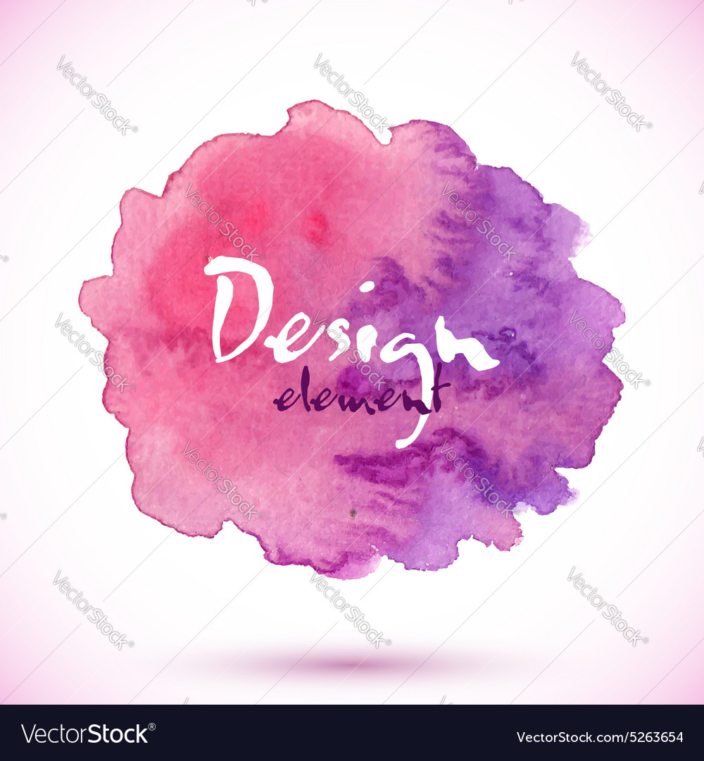 Purple watercolor painted isolated stain vector
