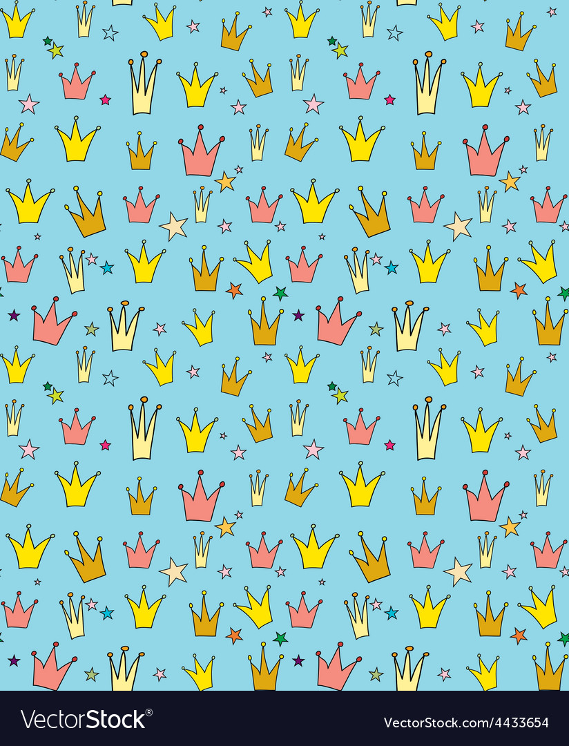 Seamless pattern of the crown princess vector