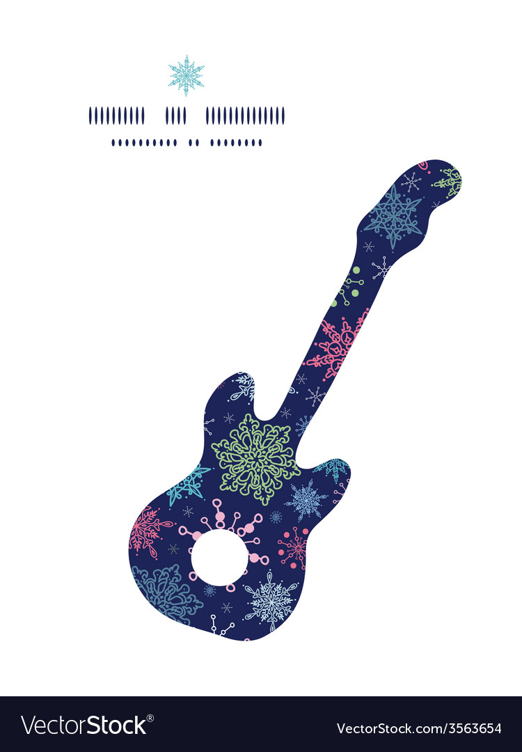 Snowflakes on night sky guitar music silhouette vector | Price: 1 Credit (USD $1)