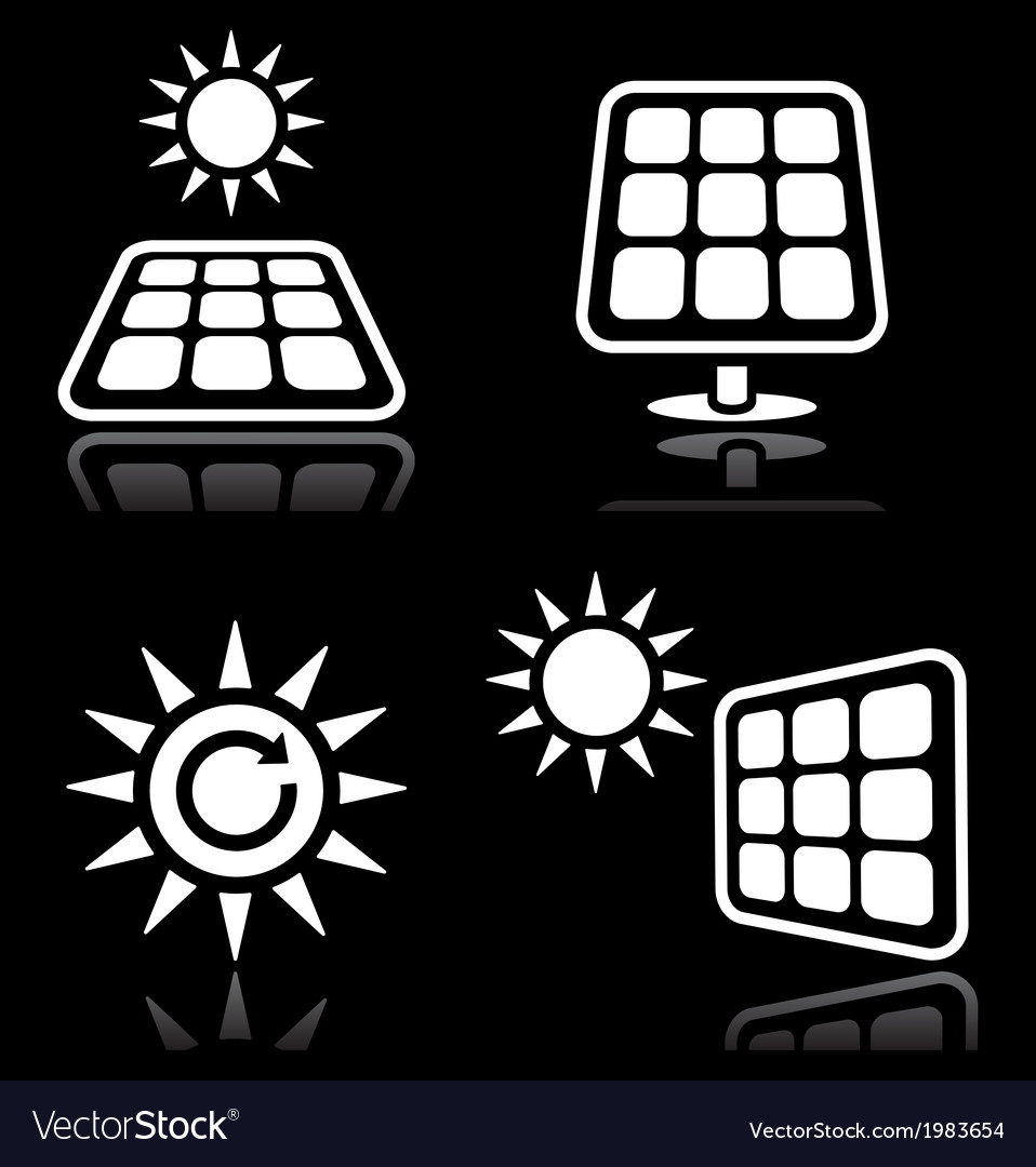 Solar panels solar energy white icons set on blac vector | Price: 1 Credit (USD $1)