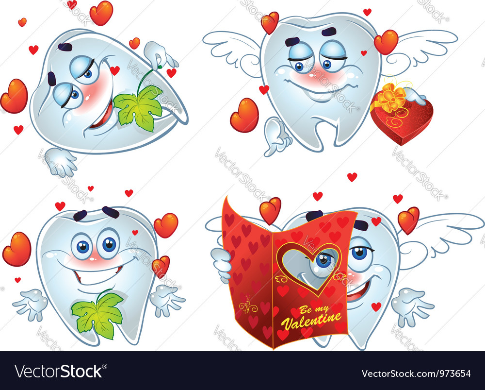 Teeth on romantic valentines day vector | Price: 3 Credit (USD $3)