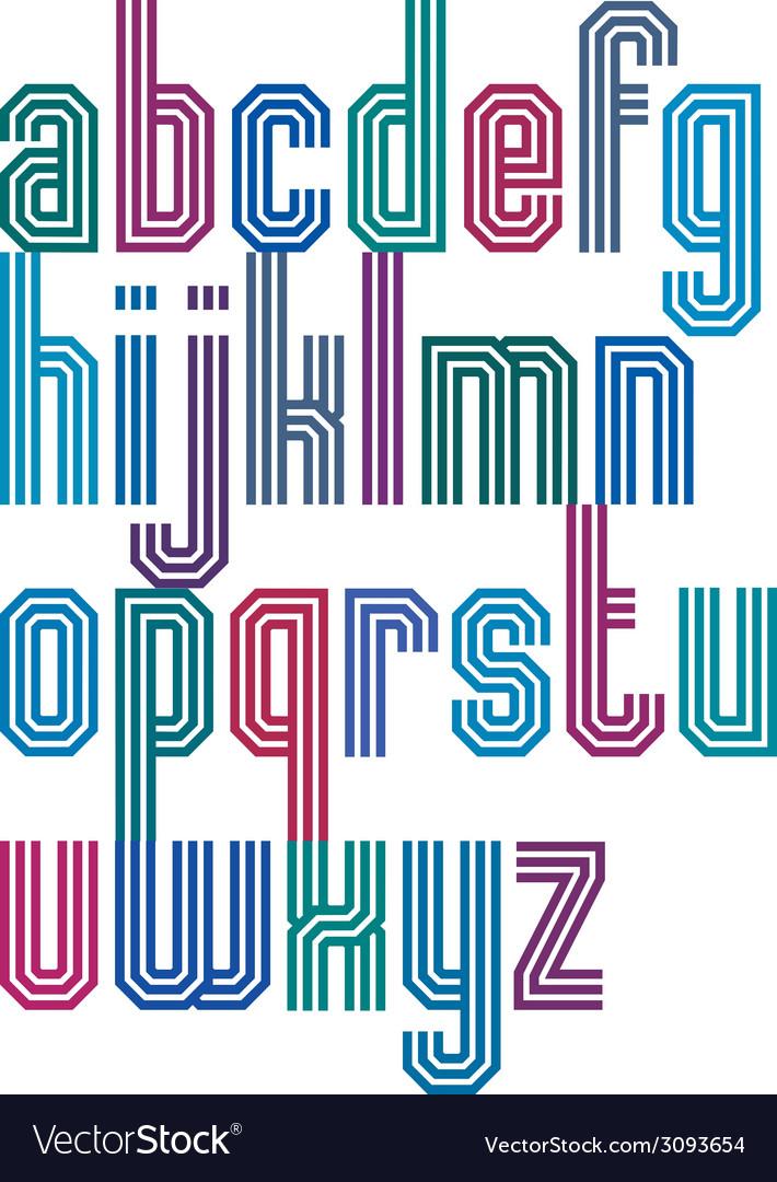 Triple stripe geometric font retro style typeface vector   Price: 1 Credit (USD $1)