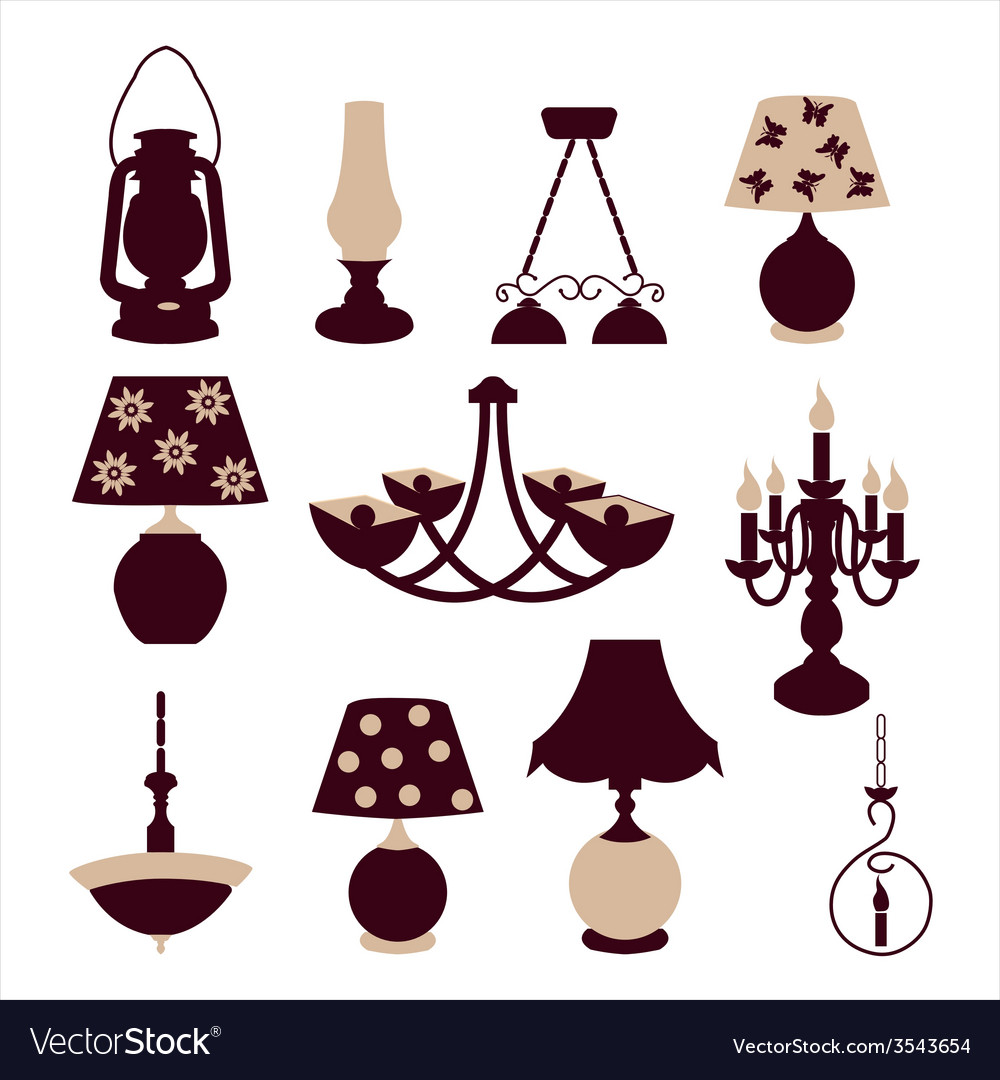 Vintage lights chandeliers and table lamps vector | Price: 1 Credit (USD $1)