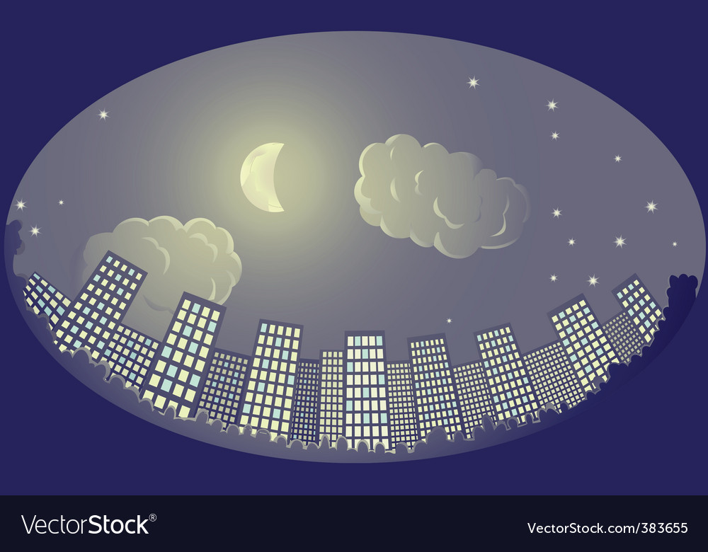 City at night vector | Price: 3 Credit (USD $3)