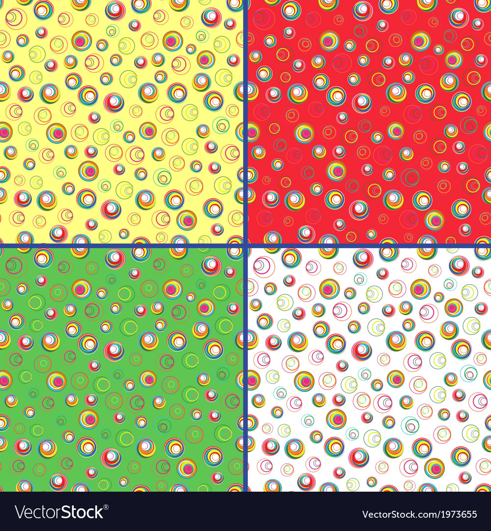 Four seamless patterns with colorful circles vector | Price: 1 Credit (USD $1)