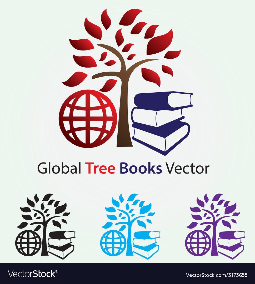 Global tree books vector | Price: 1 Credit (USD $1)